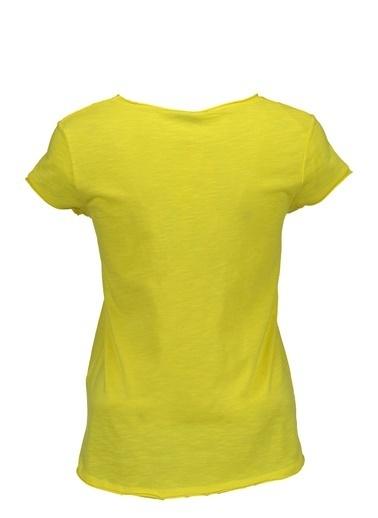 Collezione Collezione Ön Cepli V Yakalı Basic  Kadın T-Shirt Sarı